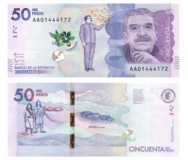 A cédula de 50 mil pesos, que traz o rosto do escritor Gabriel García Marquez, representa a Colômbia no prêmio