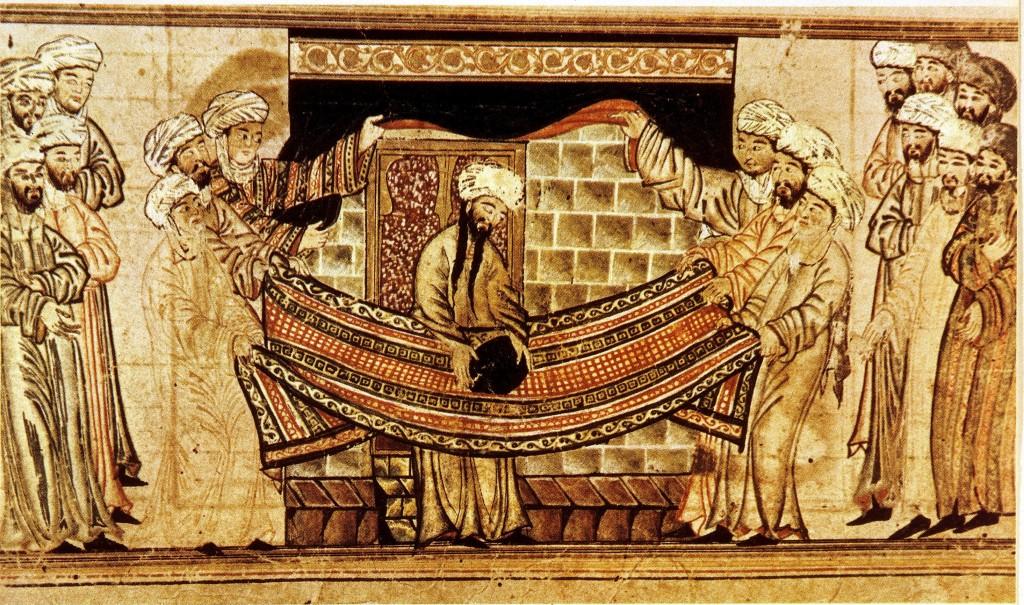 O profeta Maomé santifica a Caaba, em pintura da Ásia Central feita por volta do século XIV (Crédito: Ullstein bild/ullstein bild via Getty Images)