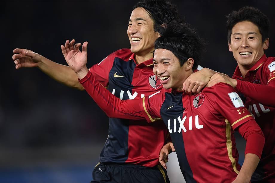 Jogadores do Kashima Antlers comemoram o gol  durante a partida contra o Real Madrid pela final do Mundial de Clubes da Fifa, em Yokohama, no Japão - 18/12/2016