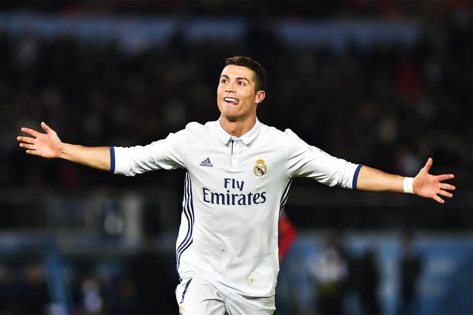 Cristiano Ronaldo comemora o gol durante a partida entre Real Madrid e Kashima Antlers pela final do Mundial de Clubes da Fifa, em Yokohama, no Japão - 18/12/2016