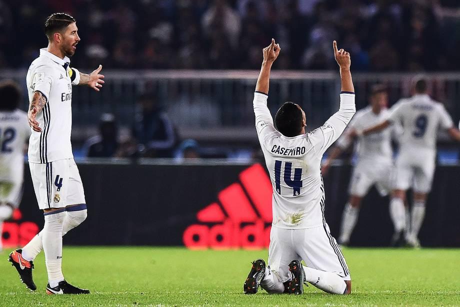 O brasileiro Casemiro  comemora o título do Mundial de Clubes da Fifa, em Yokohama, no Japão - 18/12/2016