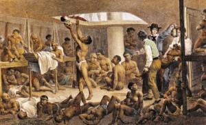 Porão de navio negreiro, pintado por Rugendas