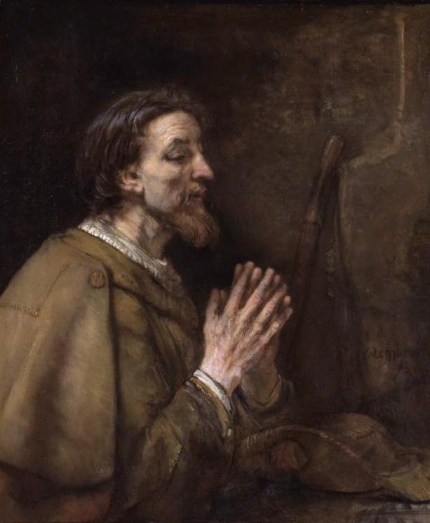 O santo, em pintura de Rembrandt: seus restos estavam escondidos em um bosque