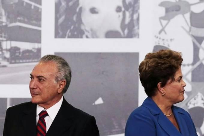 Presidente cassada Dilma Rousseff e presidente Michel Temer