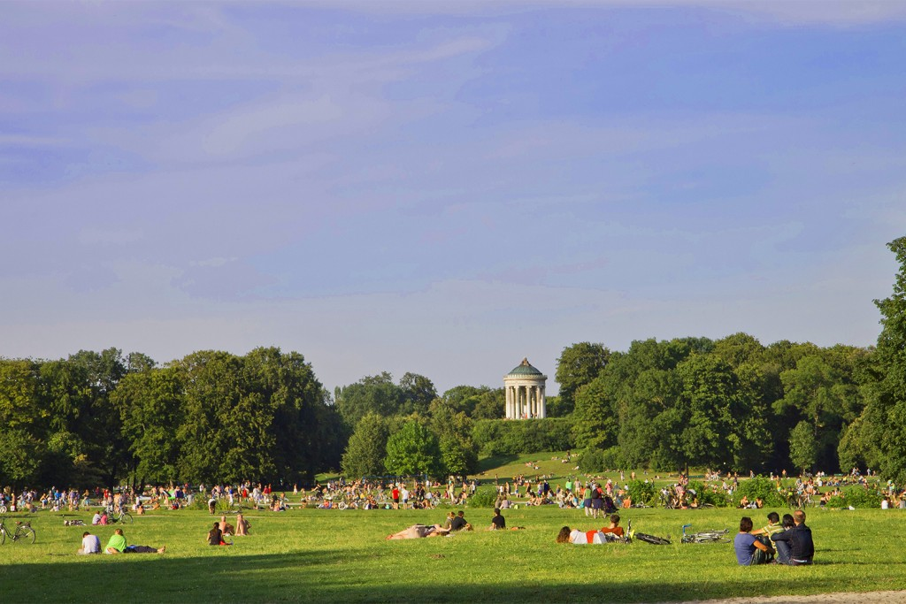 Munich , Englischer Garten on a summer day