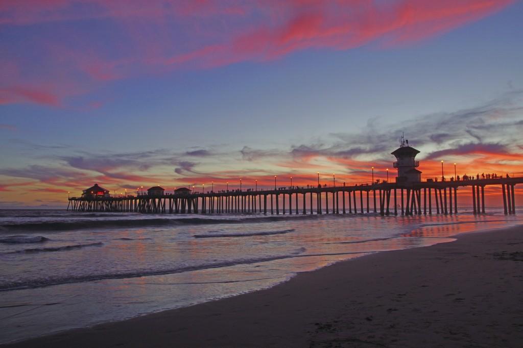 Beach pier sunset wide angle