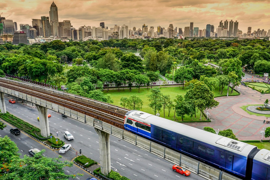 Bangkok's skyline with Lumpini Park, Bangkok Thailand