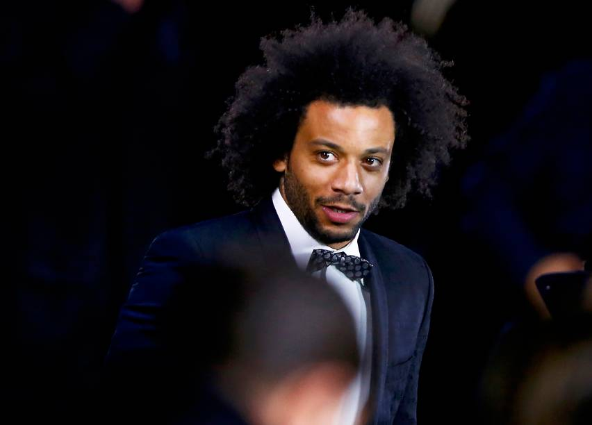 O jogador Marcelo<span>chega para oPrêmio de Melhor do Mundo da Fifa, na Suíça</span>