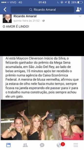 Mensagens machistas publicadas no Facebook de Ricardo Amaral, membro do Conselho municipal de Turismo do Rio de Janeiro