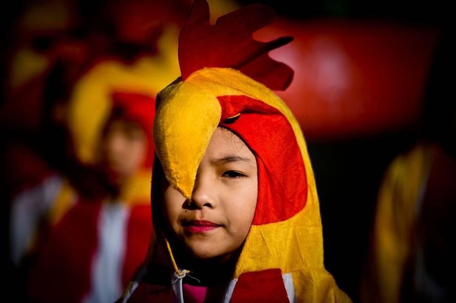 Criança fantasiada durante as comemorações do ano novo chinês, que marca o ano do Galo, na China