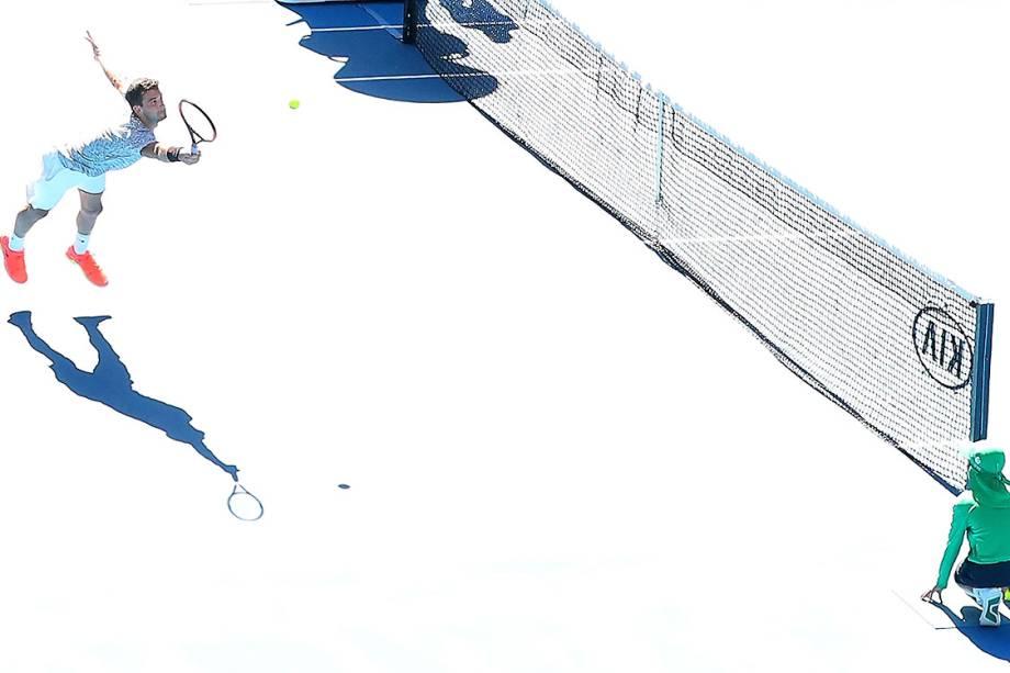 Grigor Dimitrov, da Bulgária, durante partida contra o belga David Goffin, em Melbourne