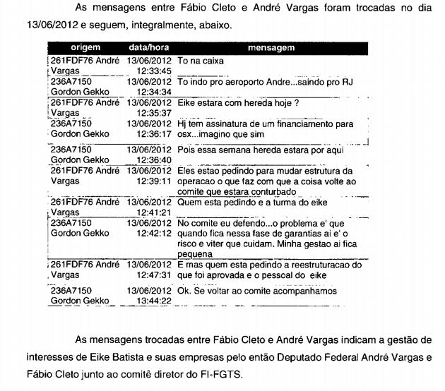 Mensagens trocadas entre André Vargas e Fábio Cleto: suspeita de negociatas em favor de Eike