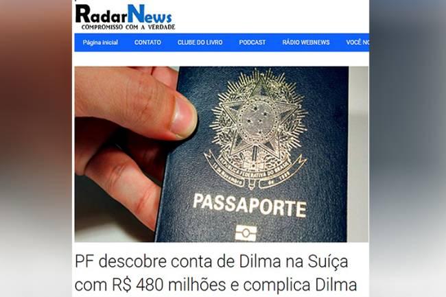 Site publica notícia falsa sobre a ex-presidente da República, Dilma Rousseff