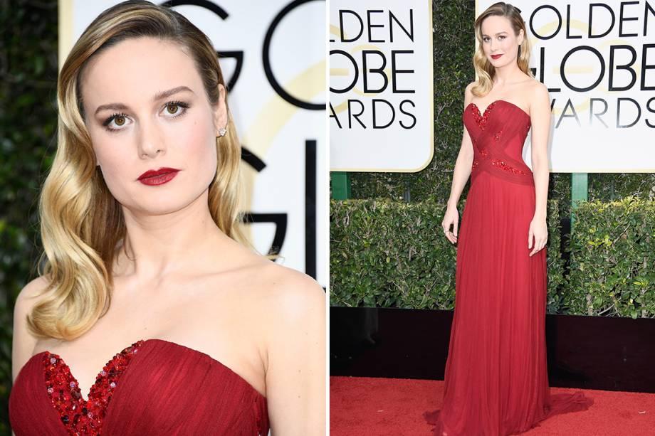 A atriz Brie Larson chega para o Globo de Ouro 2017, em Los Angeles