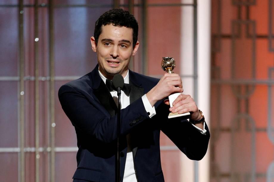 Damien Chazelle leva o Globo de Ouro de melhor diretor por 'La La Land'