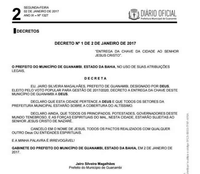 Decreto do prefeito de Guanambi entrega chave da cidade a Deus