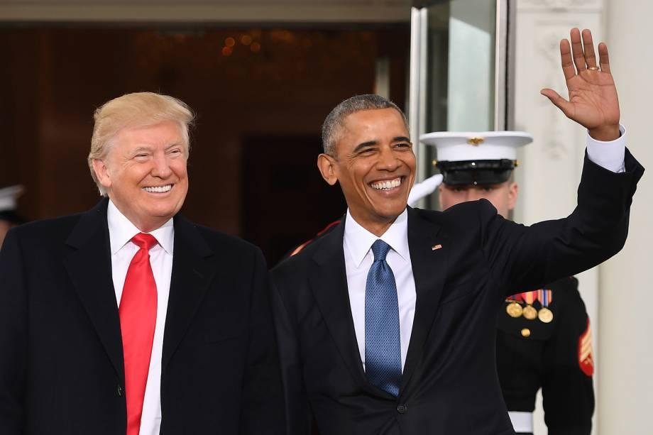 Donald Trump e Barack Obama, posam em encontro na Casa Branca antes da cerimônia de posse de Trump - 20/01/2017