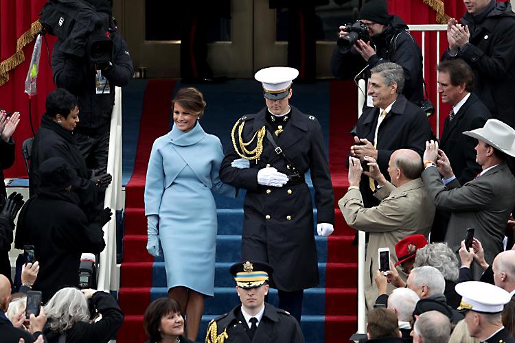 Melania Trump chega para  a cerimônia de posse do presidente dos Estados Unidos, Donal Trump, no Capitólio - 20/01/2017