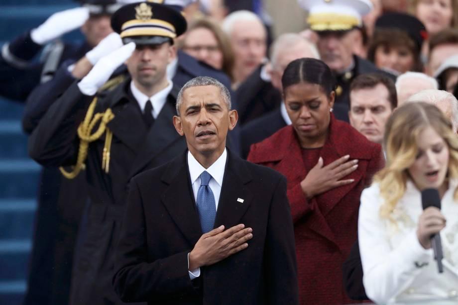 Barack Obama durante cerimônia de posse de Donald Trump, no Capitólio - 20/01/2017