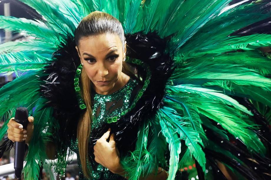 A cantora Ivete Sangalo esteve na Marquês de Sapucaí, para seu ensaio técnico como protagonista e homenageada da Grande Rio.