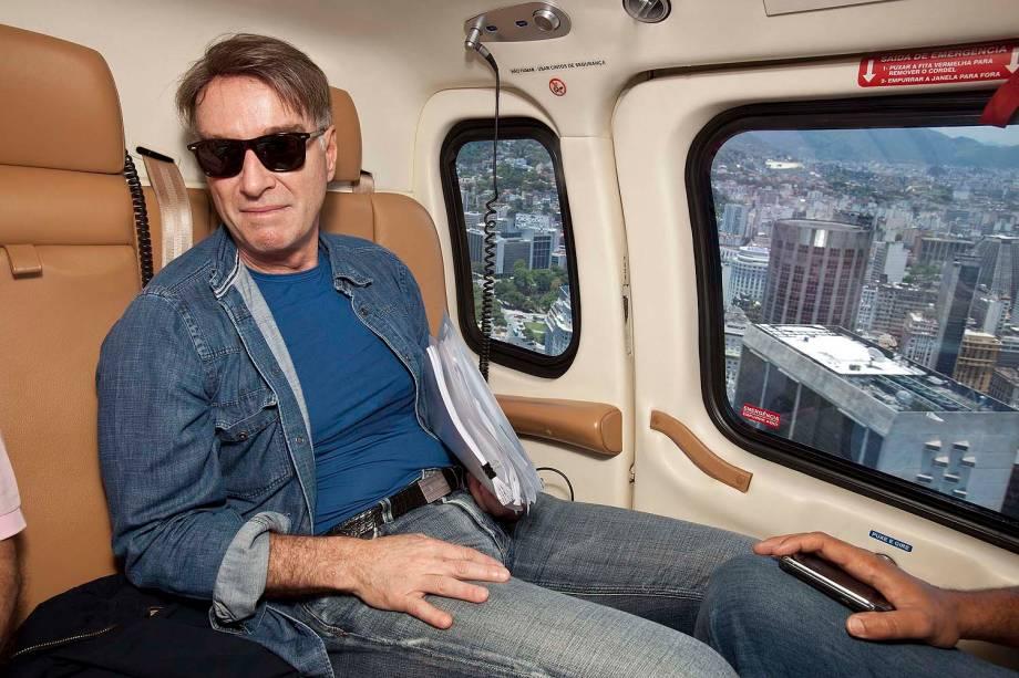 Eike Batista no helicóptero em Angra do Reis.