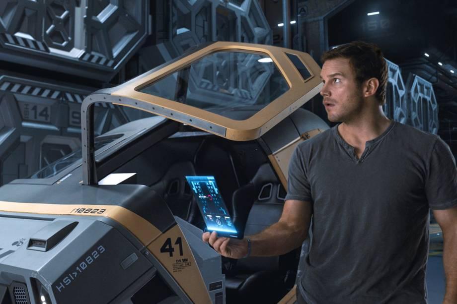 Jim Preston (Chris Pratt) no filme'Passageiros'