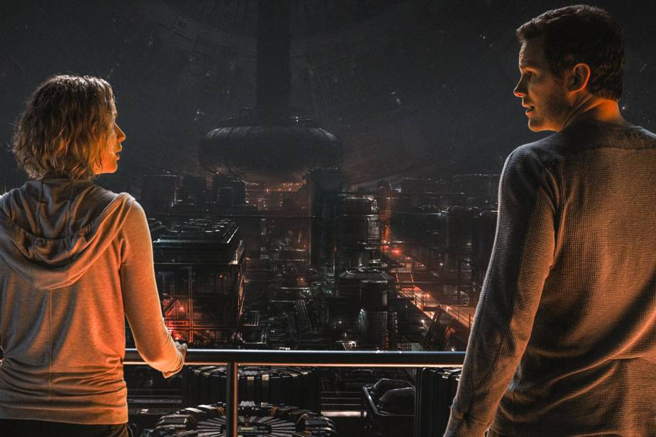 Jim Preston (Chris Pratt) e Aurora (Jennifer Lawrence) no filme'Passageiros'