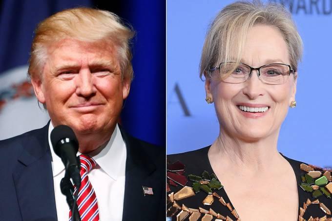O presidente eleito dos Estados Unidos, Donald Trump e a atriz Meryl Streep