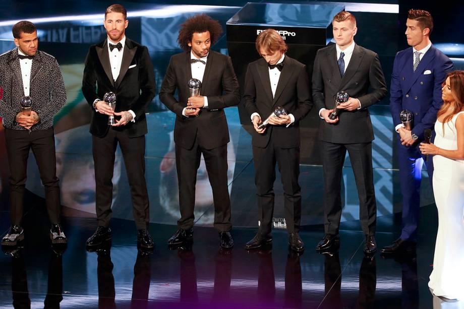 Os jogadores Daniel Alves, Sérgio Ramos, Marcelo, Luka Modric, Toni Kroos e Cristiano Ronaldo, durante o o Prêmio de Melhor do Mundo da Fifa, na Suíça