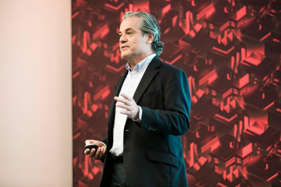 <b>O líder global de marketing da Coca-Cola, Marcos de Quinto, em sua palestra</b>