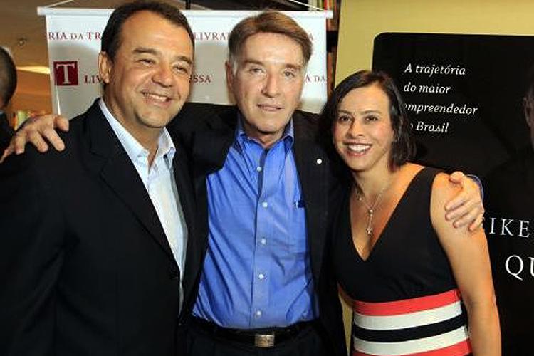 O empresário Eike Batista, o ex-governador Sérgio Cabral Filho e Adriana Ancelmo