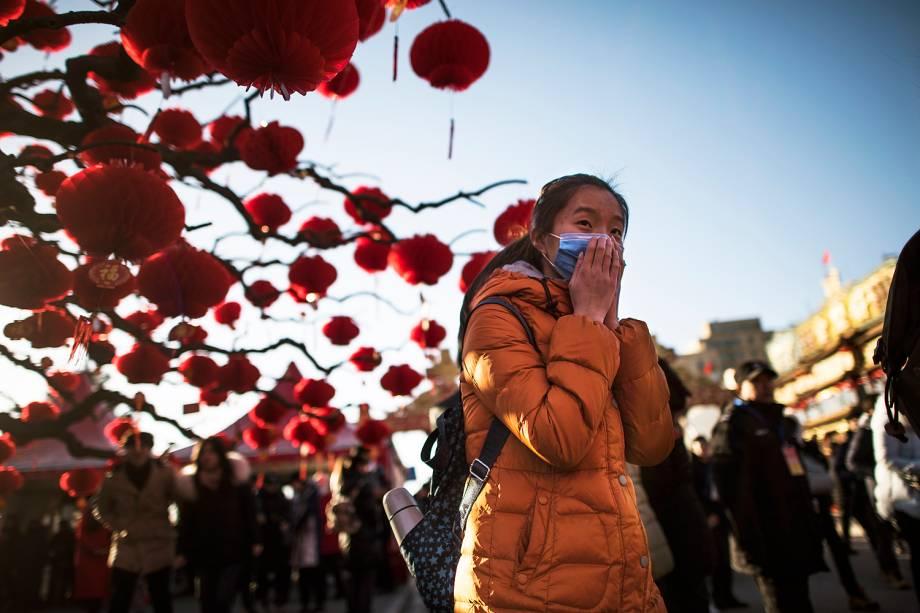 Chineses celebram o Ano-Novo Lunar no parque Ditan, em Pequim - 30/01/2017
