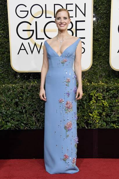 A atriz Jessica Chastain chega para o Globo de Ouro 2017, em Los Angeles