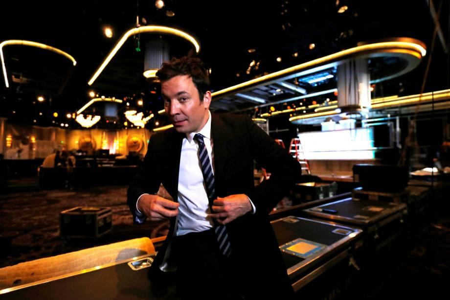 Jimmy Fallon durante os preparativos para o Globo de Ouro, na Califórnia