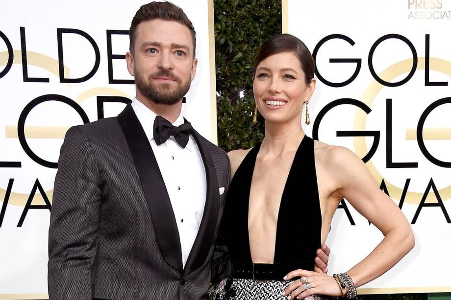 O ator e cantor Justin Timberlake e a atriz Jessica Biel chegam para o Globo de Ouro 2017, em Los Angeles
