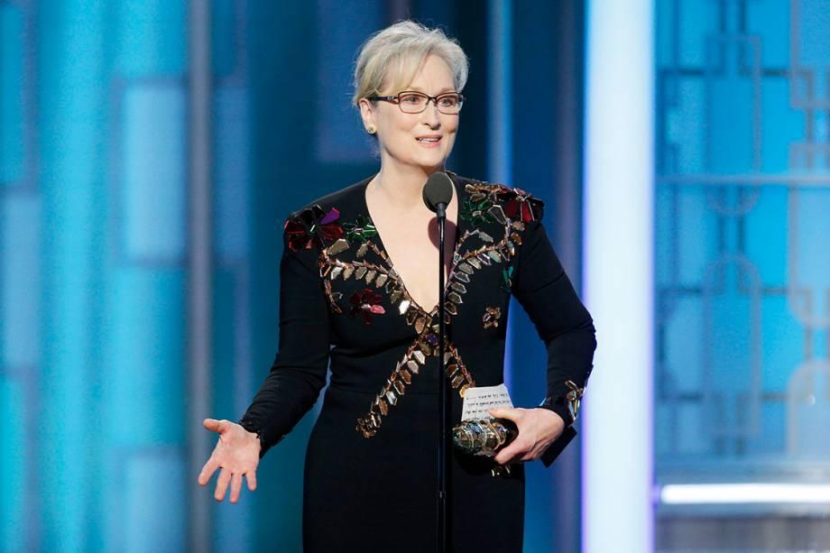 A atriz Meryl Streep é homenageada com o Globo de Ouro: Cecil B. DeMille, prêmio para os notáveis do cinema