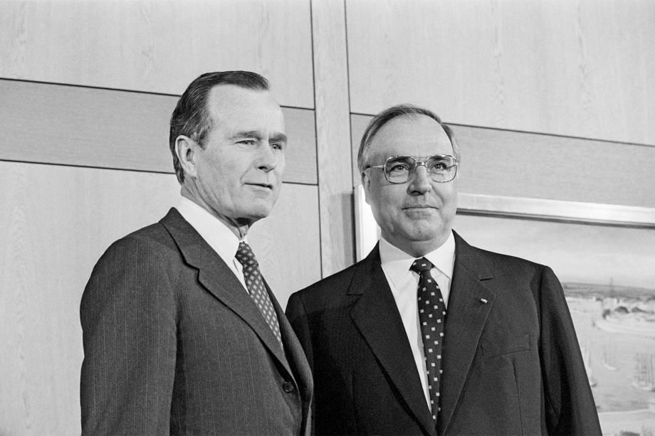 George H.W.Bush com o então chanceler alemão Helmur Kohl
