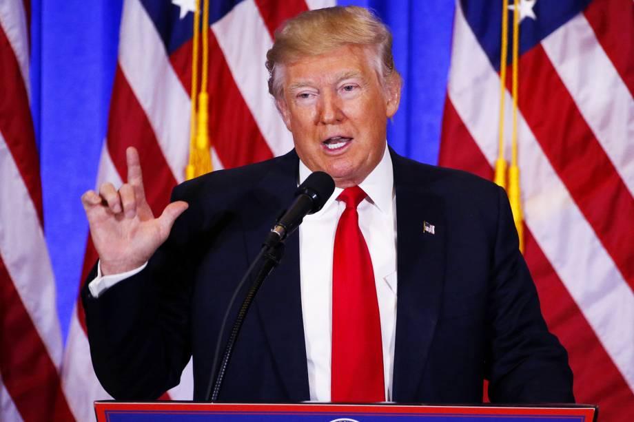 O presidente eleito dos Estados Unidos, Donald Trump, concede a primeira entrevista coletiva após as eleições americanas, na Trump Tower, em Nova York - 11/01/2017