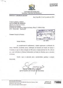 Suely Campos, governadora de Roraima, encaminha ofício ao Ministro da Justiça, Alexandre de Moraes