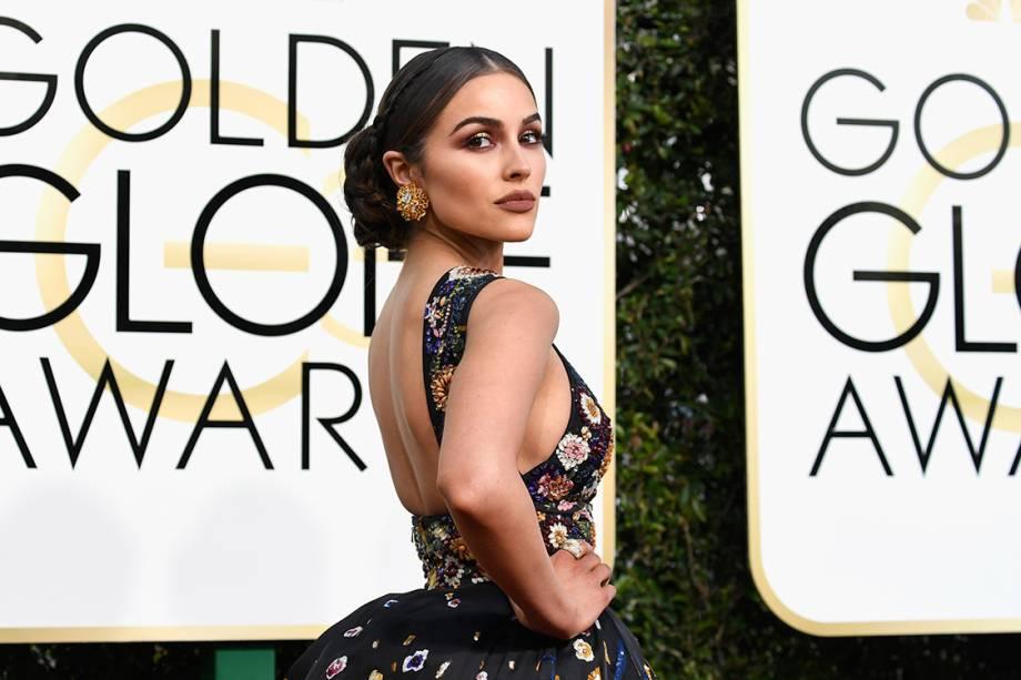 A atriz Olivia Culpo chega para o Globo de Ouro 2017, em Los Angeles