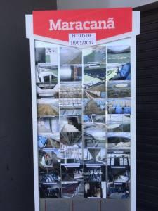 Painel com fotos dos pontos do Maracanã que precisam passar por reparos