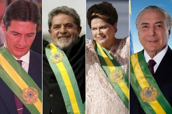 Presidentes com faixas presidenciais
