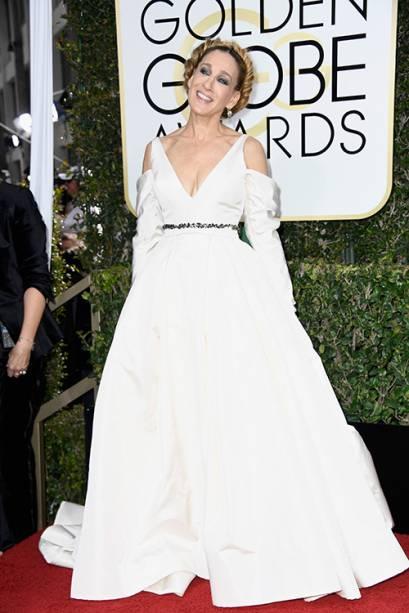 A atriz Sarah Jessica Parker chega para o Globo de Ouro 2017, em Los Angeles
