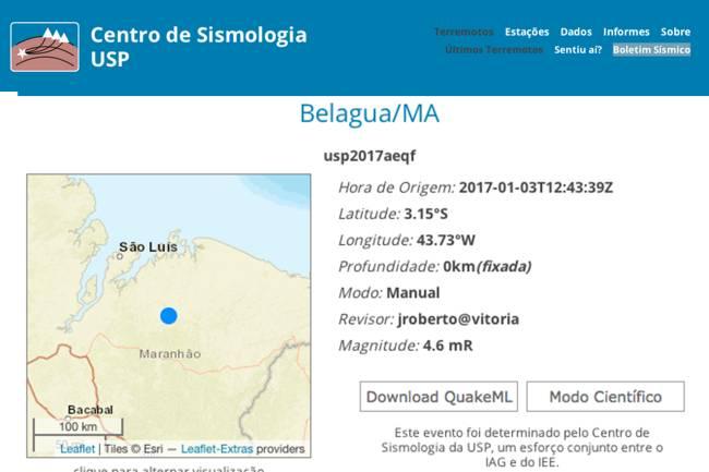 Centro de Sismologia da USP registra tremor no Maranhão