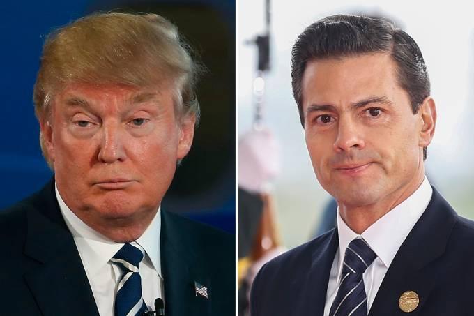 O presidente dos Estados Unidos, Donald Trump, e o presidente do México, Enrique Pena Nieto