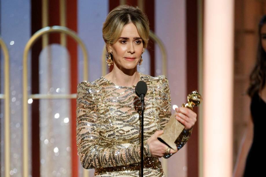 <span>Sarah Paulson recebe o Globo de Ouro de melhor atriz em minissérie ou filme para a televisão por 'The People vs. O.J. Simpson: American Crime Story'</span>