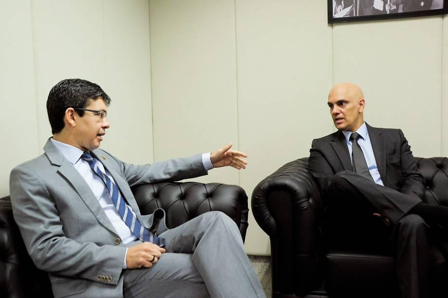 Alexandre de Moraes, indicado pelo presidente Michel Temer para ocupar o lugar de Teori Zavascki no Supremo Tribunal Federal (STF), visita o senador Randolfe Rodrigues (Rede-AP) - 09/02/2017
