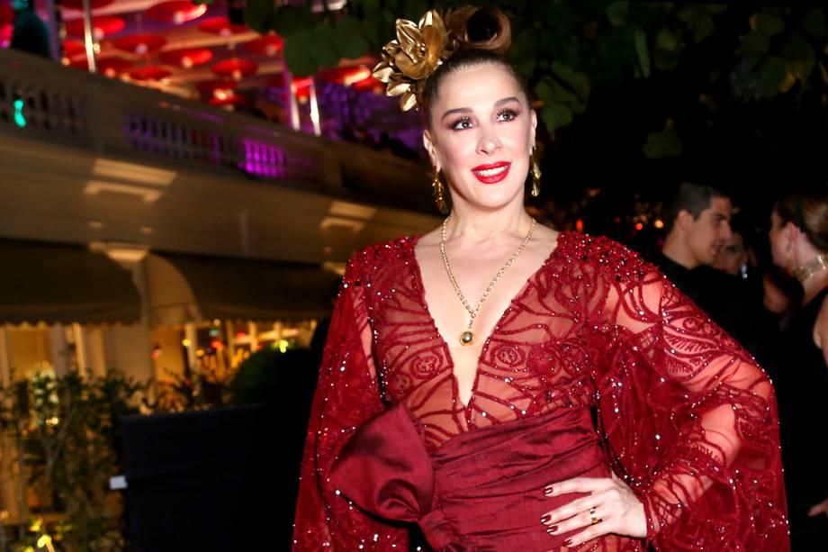 A atriz Cláudia Raia, no baile de Carnaval promovido pelo hotel Copacabana Palace, no Rio de Janeiro