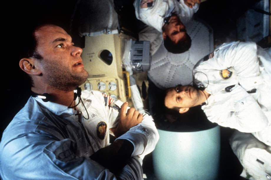 "Tom Hanks, Kevin Bacon e Bill Paxton no filme ""Apollo 13"""