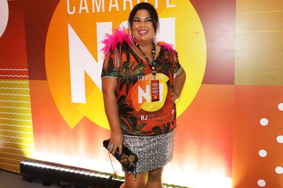A atriz Fabiana Karla no camarote da Marquês de Sapucaí, no Rio de Janeiro (RJ) - 26/02/2017